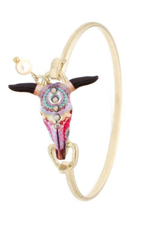 Boho Steer Skull Wire Bracelet Gold