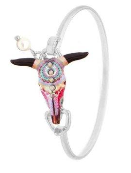 Boho Steer Skull Wire Bracelet Silver
