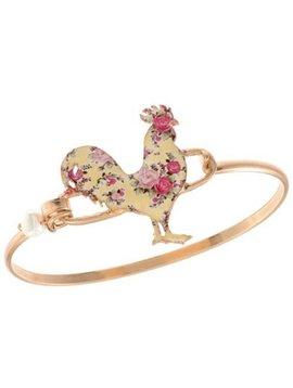 Floral Rooster Wire Bracelet Gold