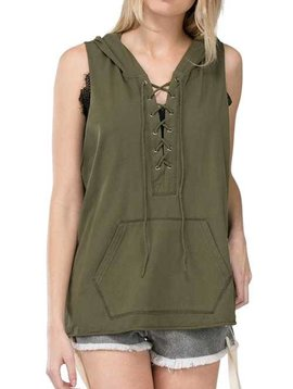 Sleeveless Lace Up Hoodie