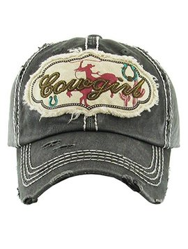 Cowgirl Ball Cap Faded Black