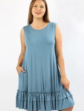 Ruffle Hem Tank Dress Curvy