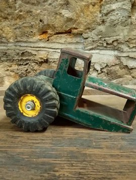 Vintage Metal Green Tractor Toy