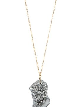 Rhodium Cracked Stone Necklace