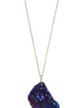Iridescent Blue Cracked Stone Necklace