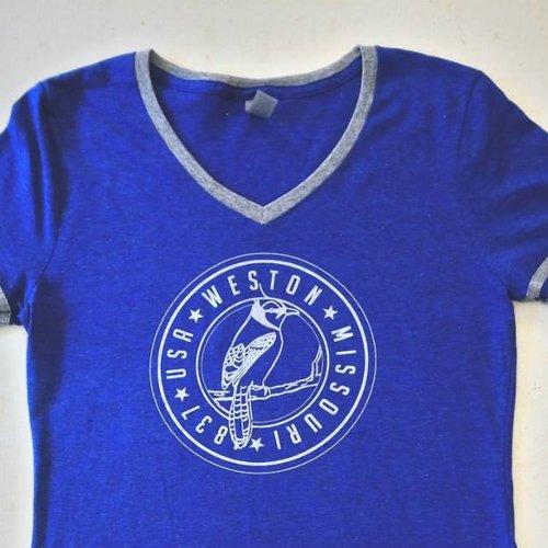 Weston, MO Blue Jays Ladies V Neck Tee