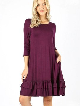 Ruffle Hem 3/4 Sleeve Dress