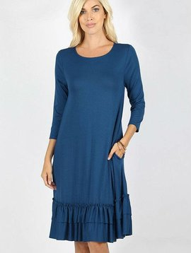 Ruffle Hem 3/4 Dress Curvy