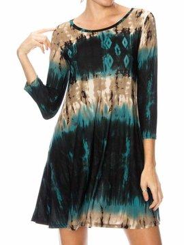 Teal Tie Dye Swing Dress