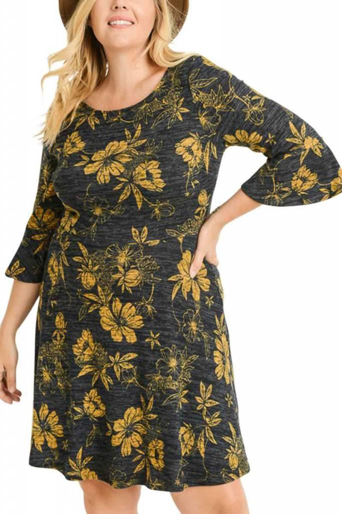 Bell Sleeve Floral Dress Curvy
