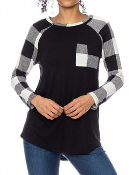 Black and Ivory Checker Sleeve Raglan Curvy