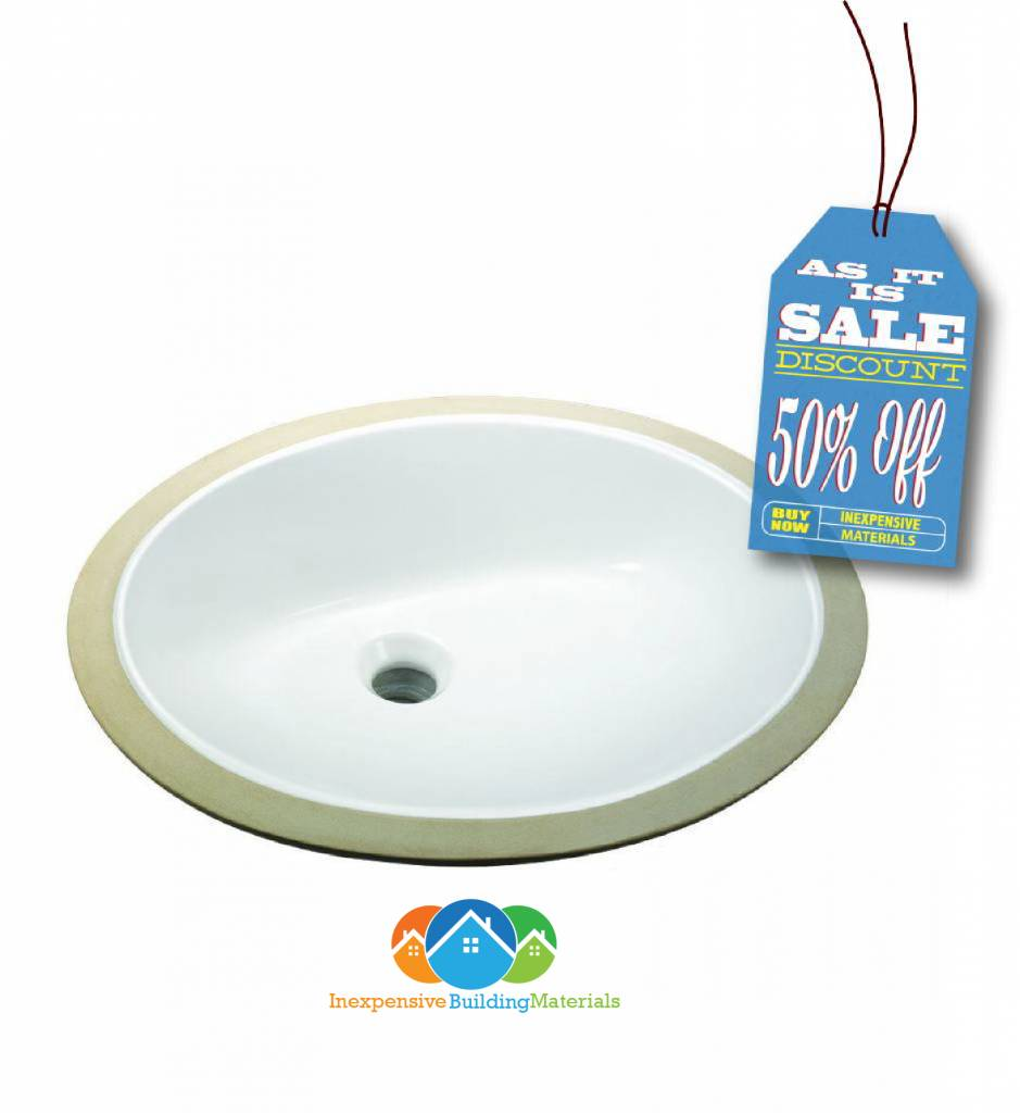 Glacier Bay Oval Undermounted Bathroom Sink In White