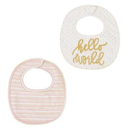 Mud Pie Hello World Bib Set