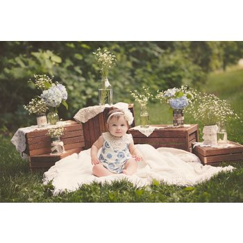 Whimsy Blue and Ivory Embroidered  Bubble