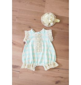 Peaches 'n Cream Mint and Ivory Romper with Headband
