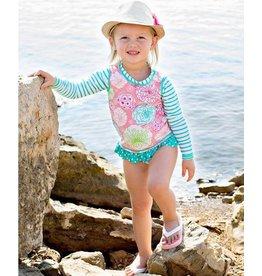 RuffleButts Tropical Garden Stripe Rash Guard Bikini