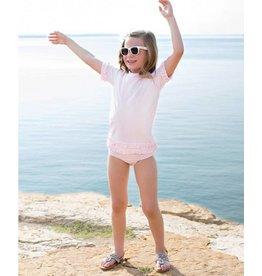 RuffleButts Pink Seersucker Ruffled Rash Guard Bikini