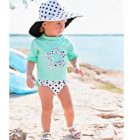 Ruffle Butts Mint Polka Dot Star Ruffled Rash Guard Bikini