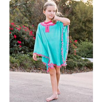Ruffle Butts Aqua Pom Pom Poncho Cover-Up
