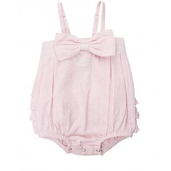 Ruffle Butts Pink Seersucker Bow-Front Bubble Romper