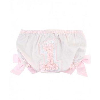Ruffle Butts Pink Sateen First Birthday Ruffle Butt