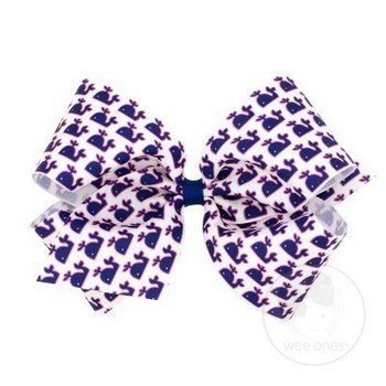 Wee Ones King Whale Print Bow