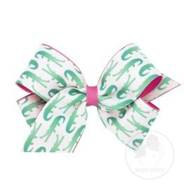 Wee Ones Medium Aquatic Alligator Print Bow