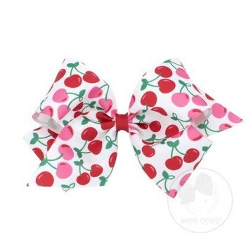 Wee Ones King Cherry Fruit Print Bow