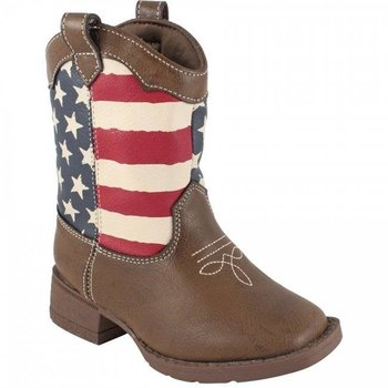 Baby Deer Brown western boot with americana print