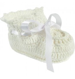 Baby Deer My First White Crochet Shoes W/Bow