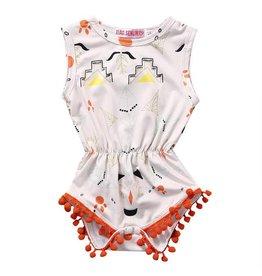 White Aztec with Orange Pom Pom Bubble