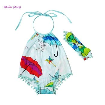 Light Blue Umbrella Bubble with Pom Pom and Headband