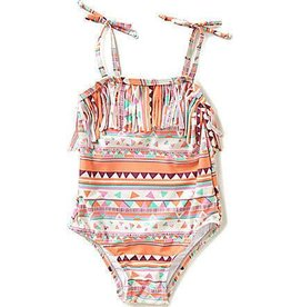 Jessica Simpson Baby Peach Amber Print Fringe One Piece Bathing Suit