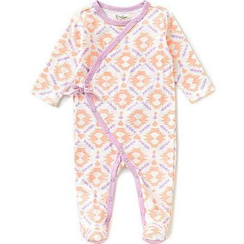 Jessica Simpson Baby Footed Peach Bud Print Onesie
