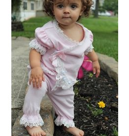 Bebe Gabrielle Pink White Lace W/ Pink bows Take Me Home