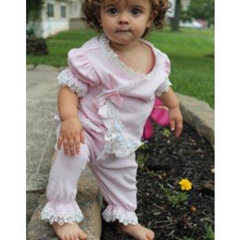 Bebe Gabrielle Pink White Lace W/ Pink bows Take Me Home