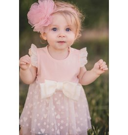 Mae Li Rose Peach Onesie Bow Dress