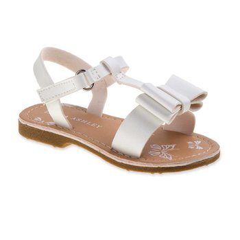 Laura Ashley Toddler Girls' White Double Bow Sling-Back Sandal