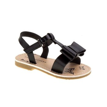 Laura Ashley Toddler Girls' Black Double Bow Sling-Back Sandals