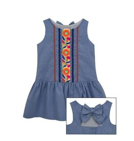 Rare Editions Embroidery Chambray Drop Waist Dress
