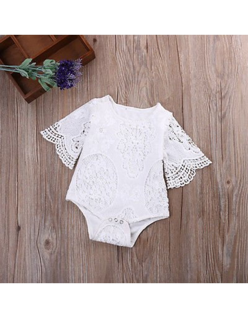 White Lace Bell Sleeve Onesie