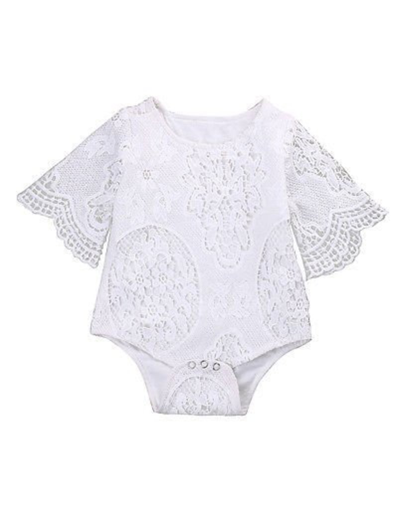 White Lace Bell Sleve Onesie