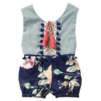 Navy Floral Pom and Tassel Romper