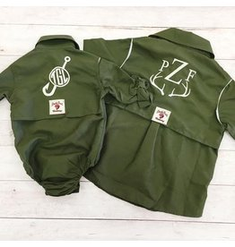 Bull Red Green Fisher Onesie