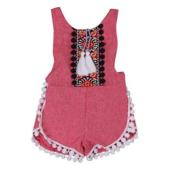 Red Bavarian Tassel Romper
