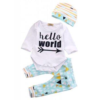 Aqua Yellow and Navy Hello World Pant and Hat Set