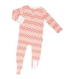 Sweet Bamboo Coral And Peach Bamboo Footie