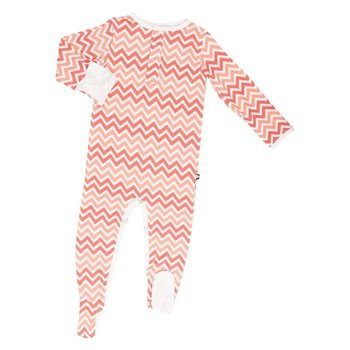Coral And Peach Bamboo Footie