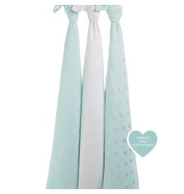 Aden + Anais Metallic Skylight Light Blue and Silver Swaddle 3 pk