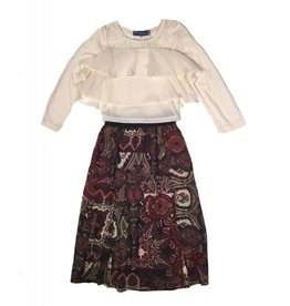 Truly Me Ivory Long Sleeve Top with Paisley Maxi Skirt